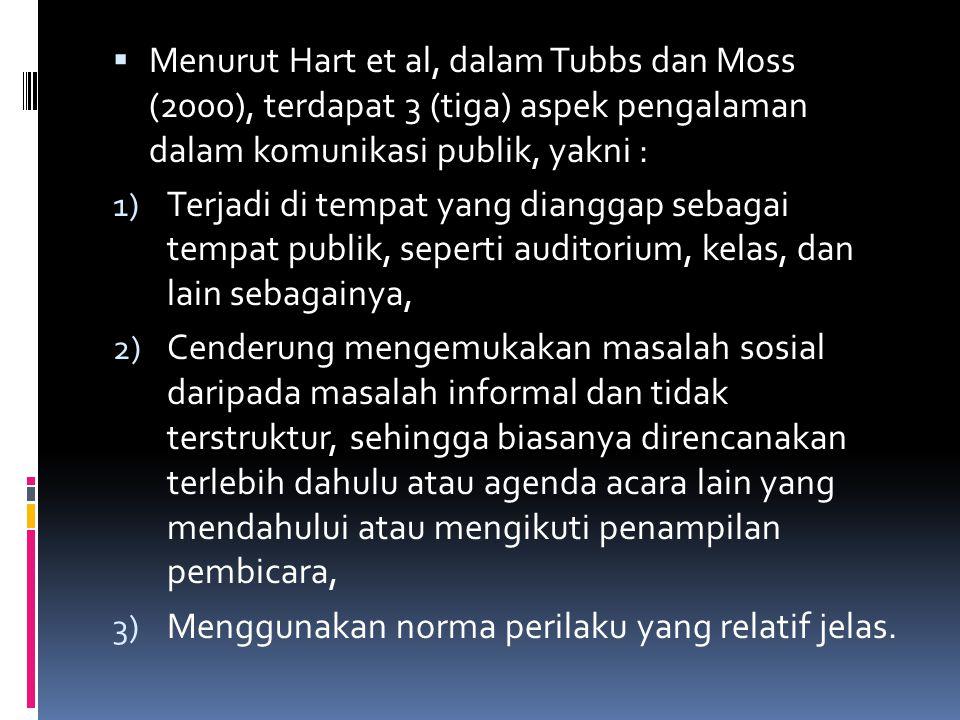 Menurut Hart et al, dalam Tubbs dan Moss (2000), terdapat 3 (tiga) aspek pengalaman dalam komunikasi publik, yakni :