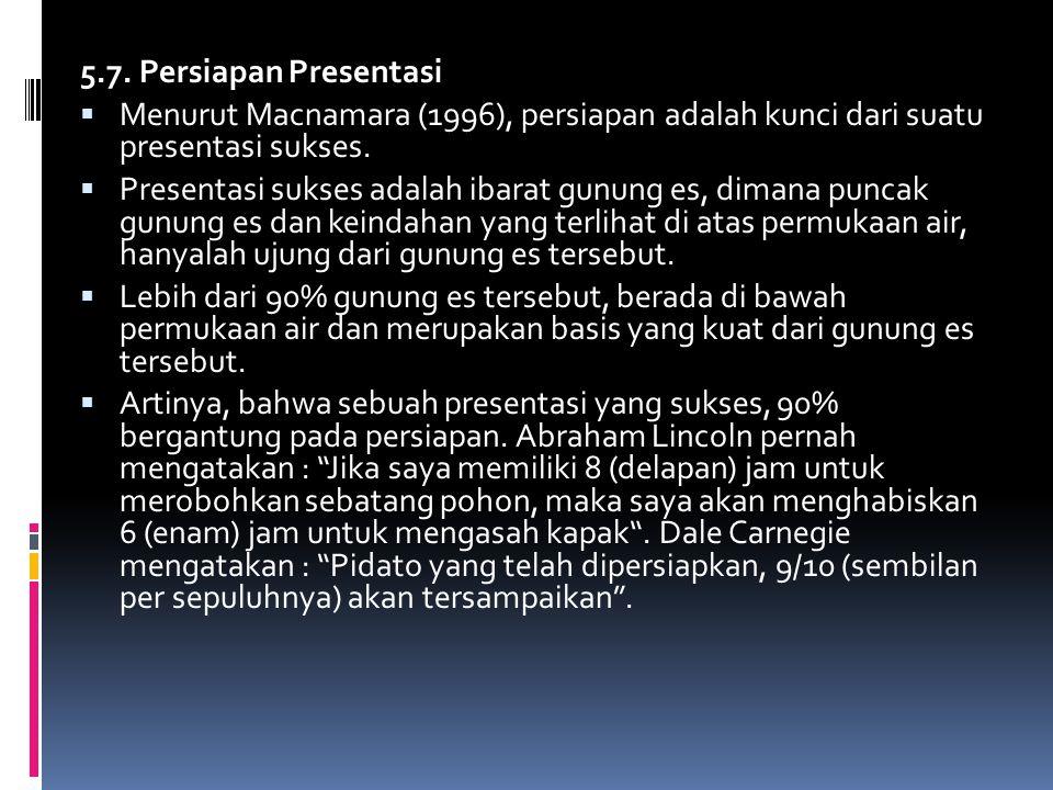 5.7. Persiapan Presentasi Menurut Macnamara (1996), persiapan adalah kunci dari suatu presentasi sukses.