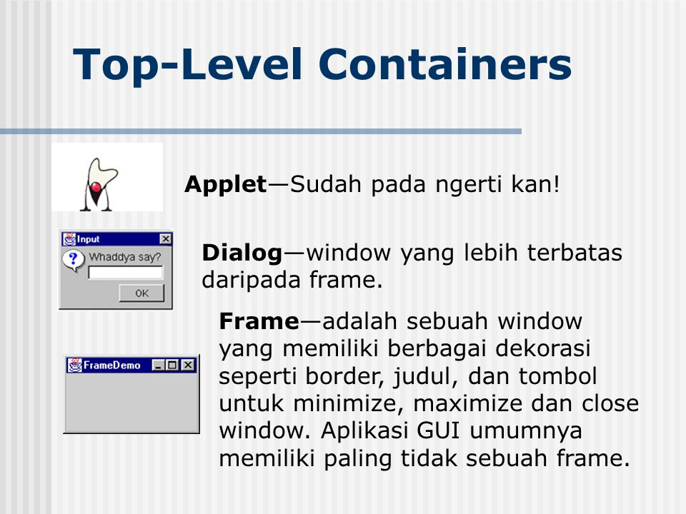 Top-Level Containers Applet—Sudah pada ngerti kan!