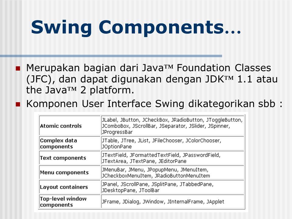 Swing Components… Merupakan bagian dari Java™ Foundation Classes (JFC), dan dapat digunakan dengan JDK™ 1.1 atau the Java™ 2 platform.