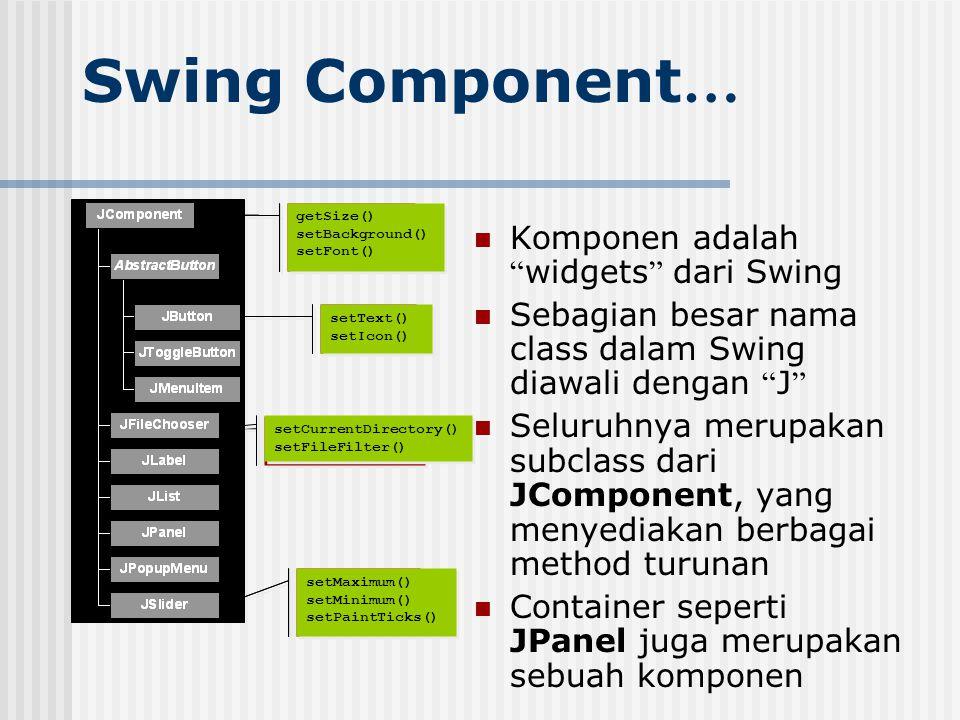Swing Component… Komponen adalah widgets dari Swing