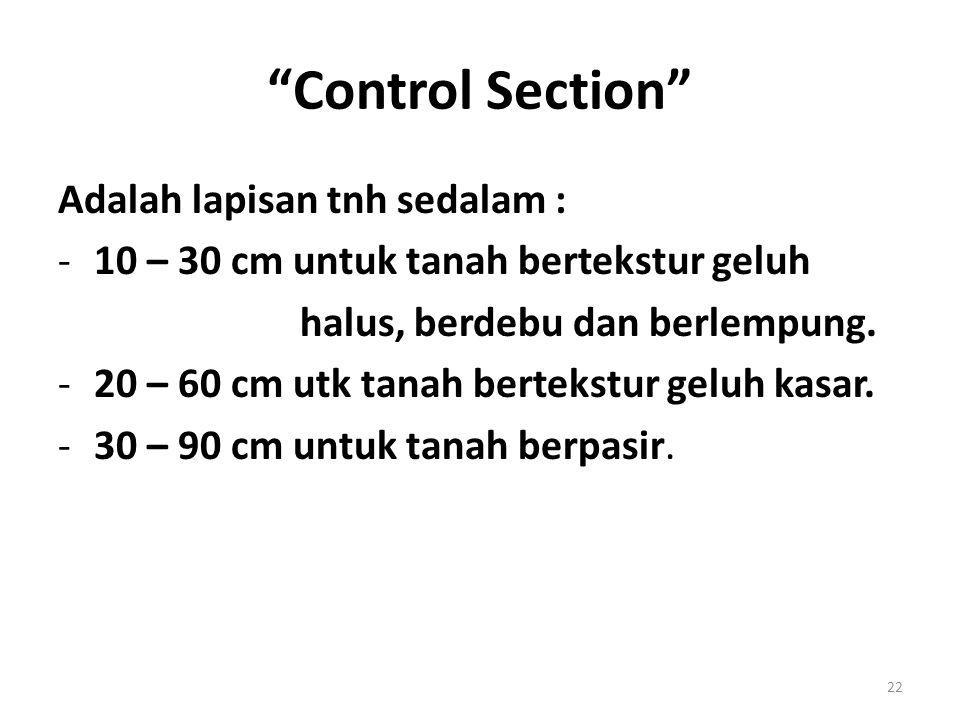 Control Section Adalah lapisan tnh sedalam :