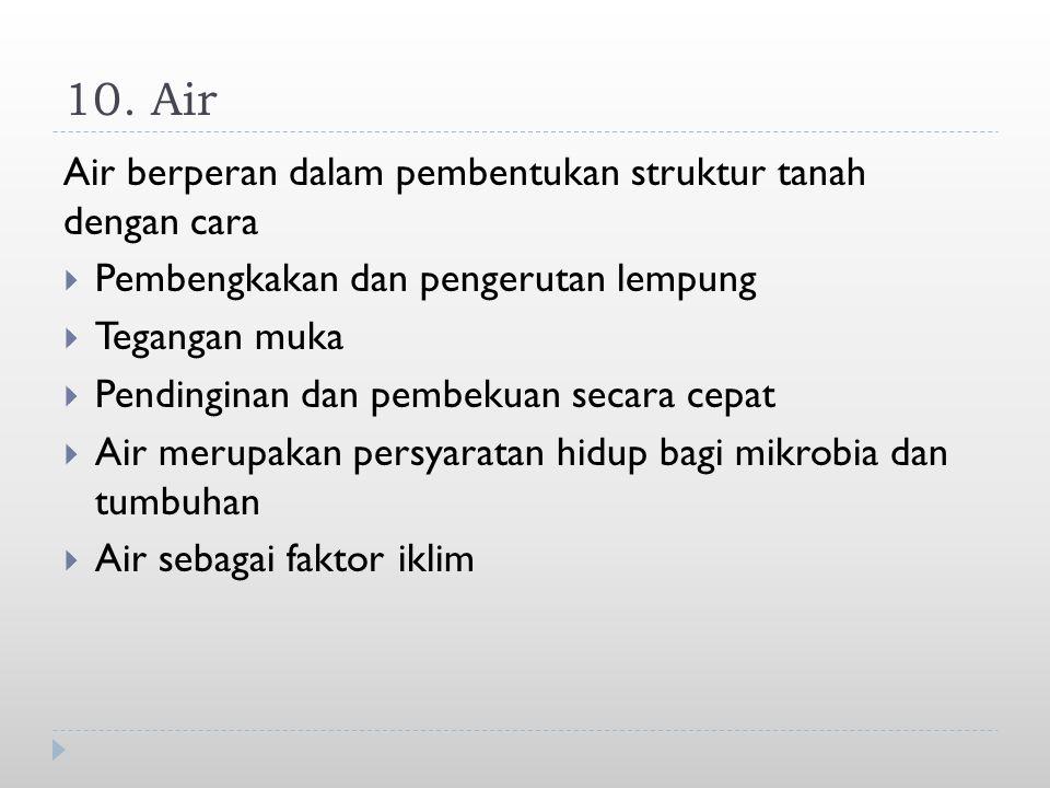 10. Air Air berperan dalam pembentukan struktur tanah dengan cara