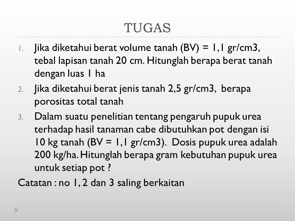 TUGAS Jika diketahui berat volume tanah (BV) = 1,1 gr/cm3, tebal lapisan tanah 20 cm. Hitunglah berapa berat tanah dengan luas 1 ha.