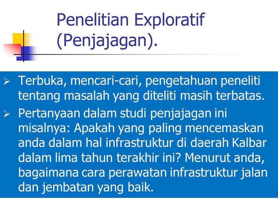 Penelitian Exploratif (Penjajagan).