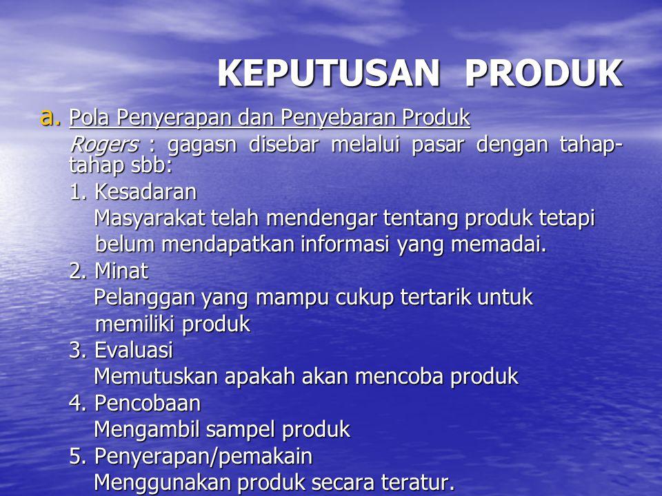 KEPUTUSAN PRODUK Pola Penyerapan dan Penyebaran Produk