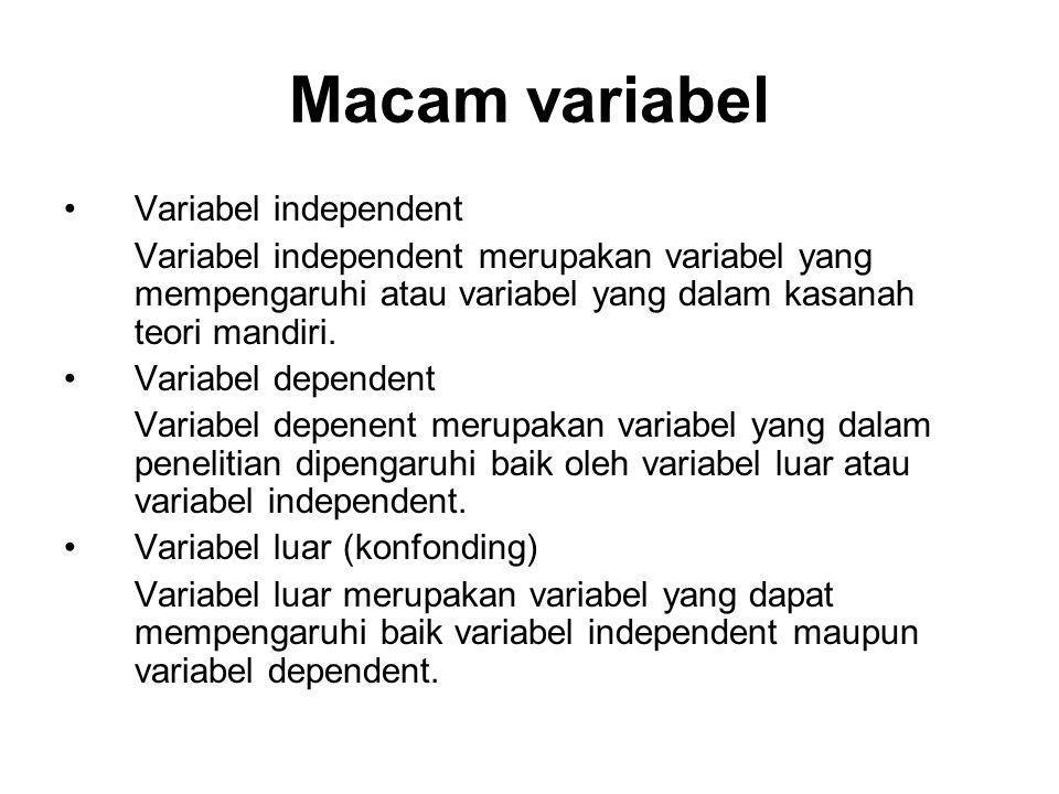 Macam variabel Variabel independent