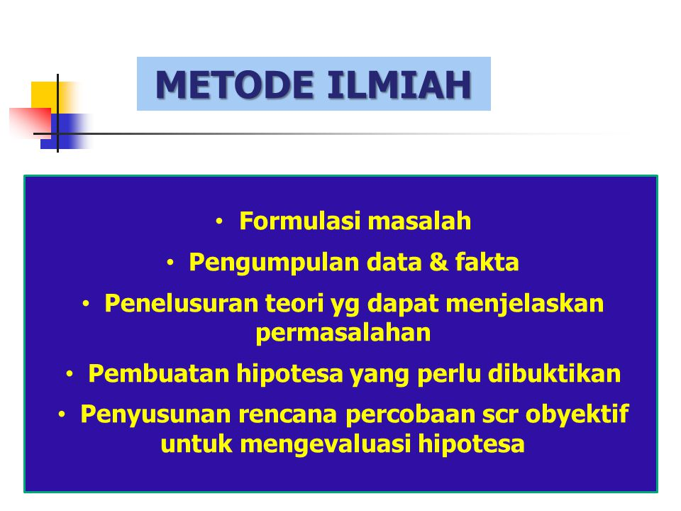 METODE ILMIAH Formulasi masalah Pengumpulan data & fakta