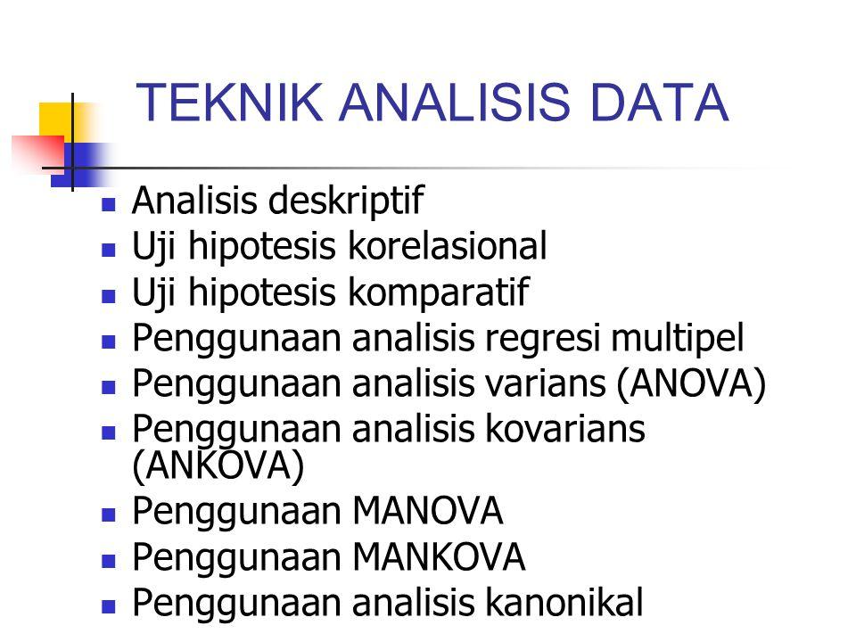 TEKNIK ANALISIS DATA Analisis deskriptif Uji hipotesis korelasional