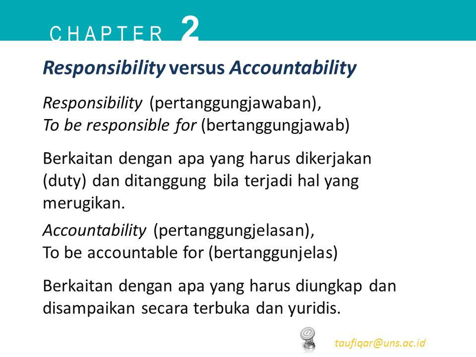 2 C h a p t e r Responsibility versus Accountability