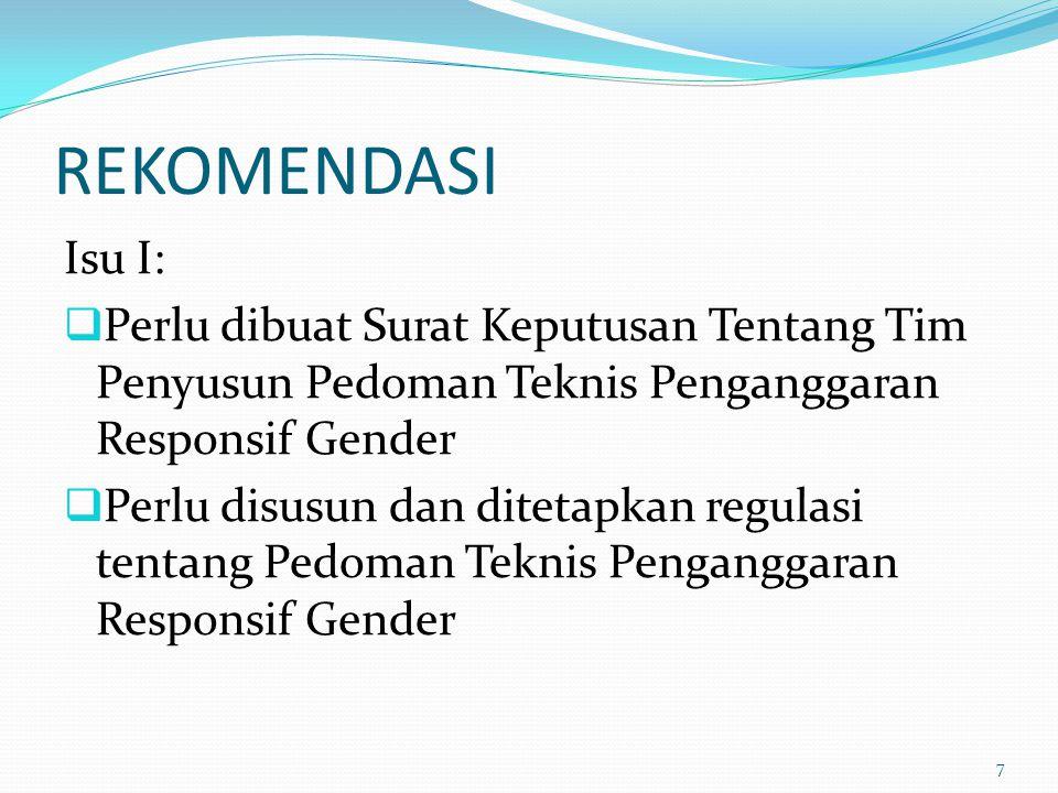 REKOMENDASI Isu I: Perlu dibuat Surat Keputusan Tentang Tim Penyusun Pedoman Teknis Penganggaran Responsif Gender.