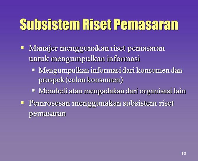 Subsistem Riset Pemasaran