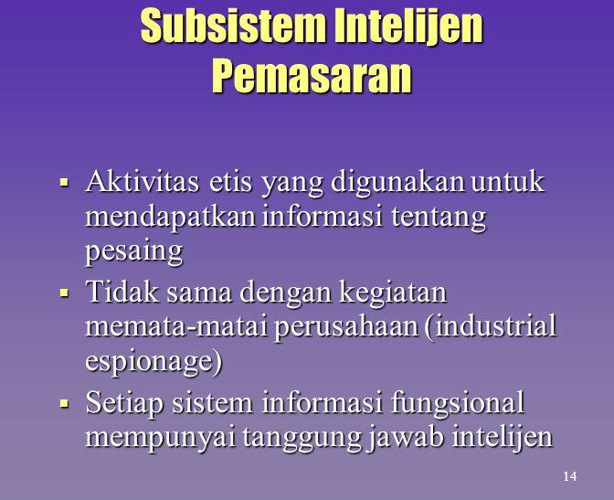 Subsistem Intelijen Pemasaran