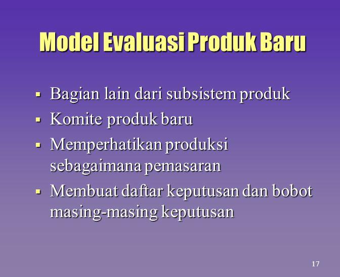 Model Evaluasi Produk Baru