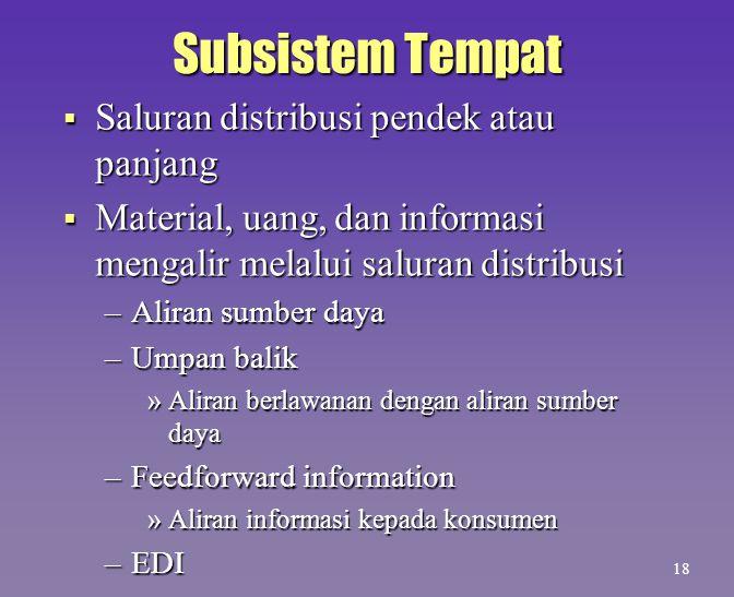 Subsistem Tempat Saluran distribusi pendek atau panjang