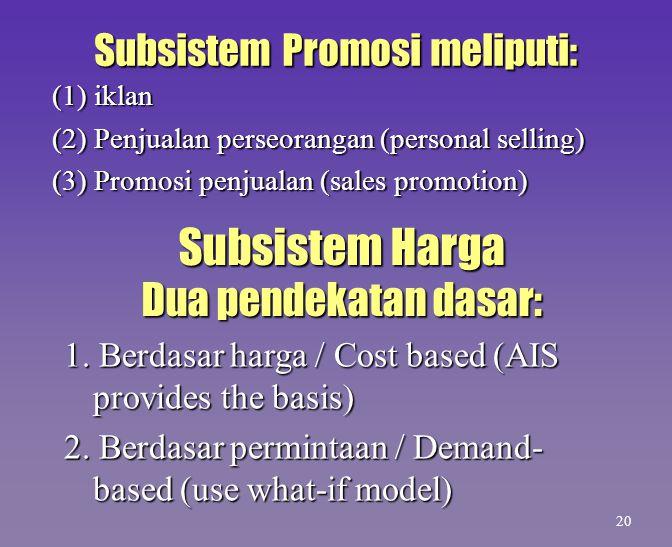 Subsistem Promosi meliputi: