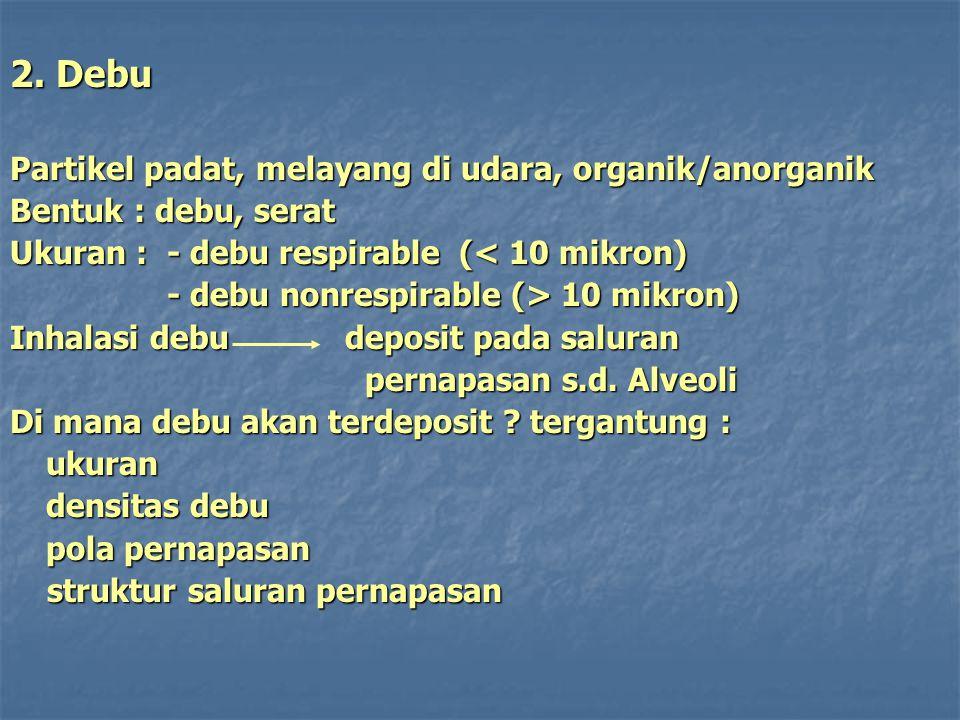 2. Debu Partikel padat, melayang di udara, organik/anorganik