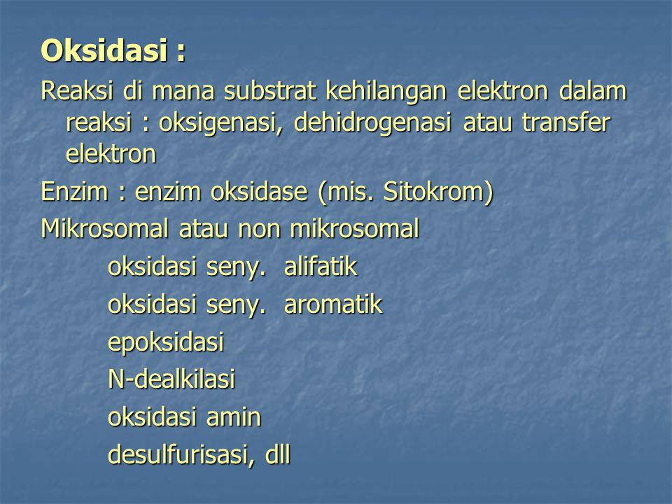 Oksidasi : Reaksi di mana substrat kehilangan elektron dalam reaksi : oksigenasi, dehidrogenasi atau transfer elektron.