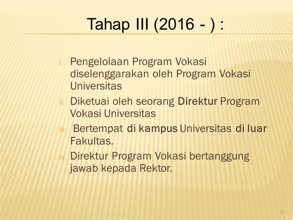 Tahap III (2016 - ) : Pengelolaan Program Vokasi diselenggarakan oleh Program Vokasi Universitas.