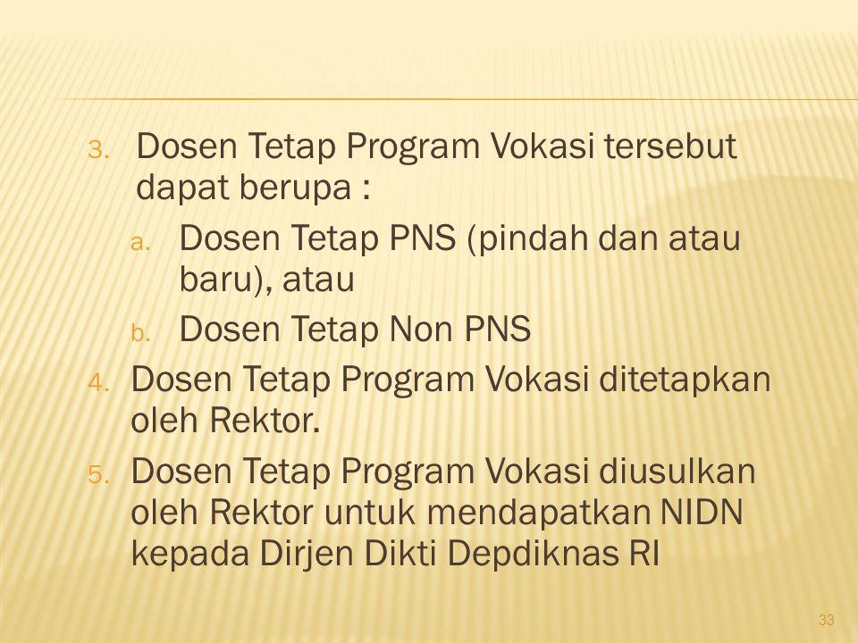 Dosen Tetap Program Vokasi tersebut dapat berupa :