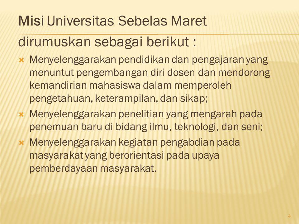 Misi Universitas Sebelas Maret dirumuskan sebagai berikut :