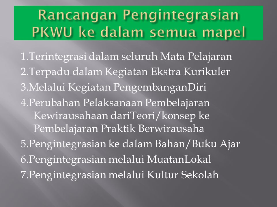 Rancangan Pengintegrasian PKWU ke dalam semua mapel