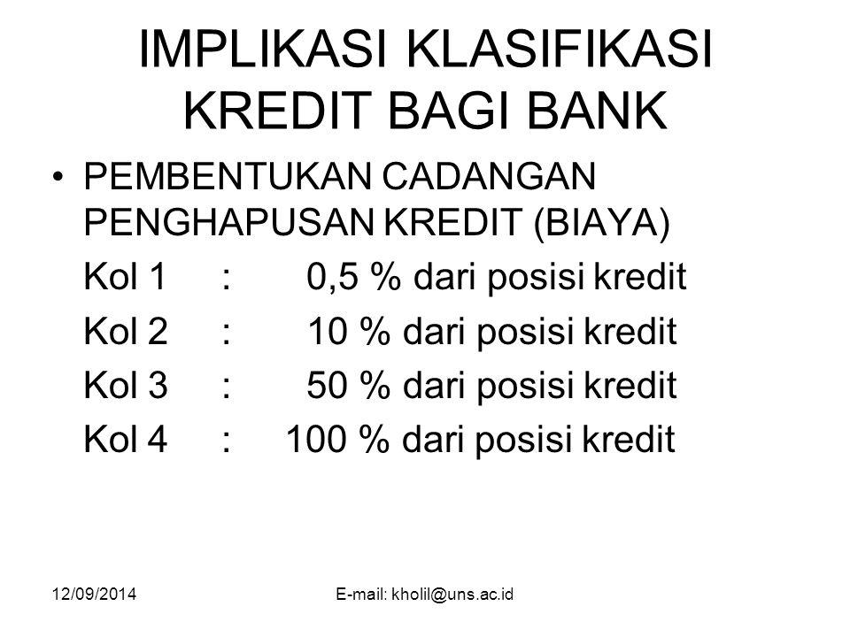 IMPLIKASI KLASIFIKASI KREDIT BAGI BANK