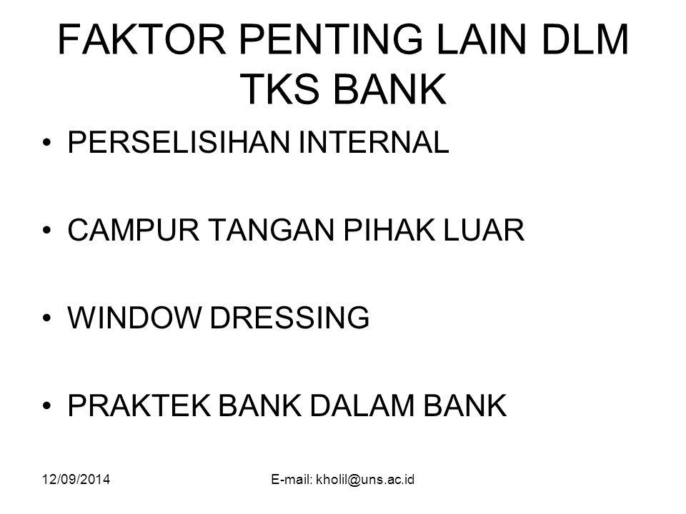 FAKTOR PENTING LAIN DLM TKS BANK