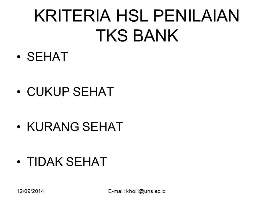 KRITERIA HSL PENILAIAN TKS BANK