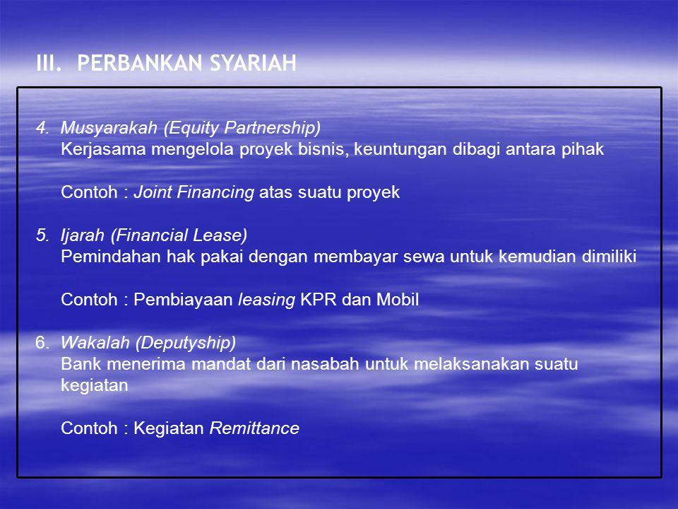 III. PERBANKAN SYARIAH 4. Musyarakah (Equity Partnership)