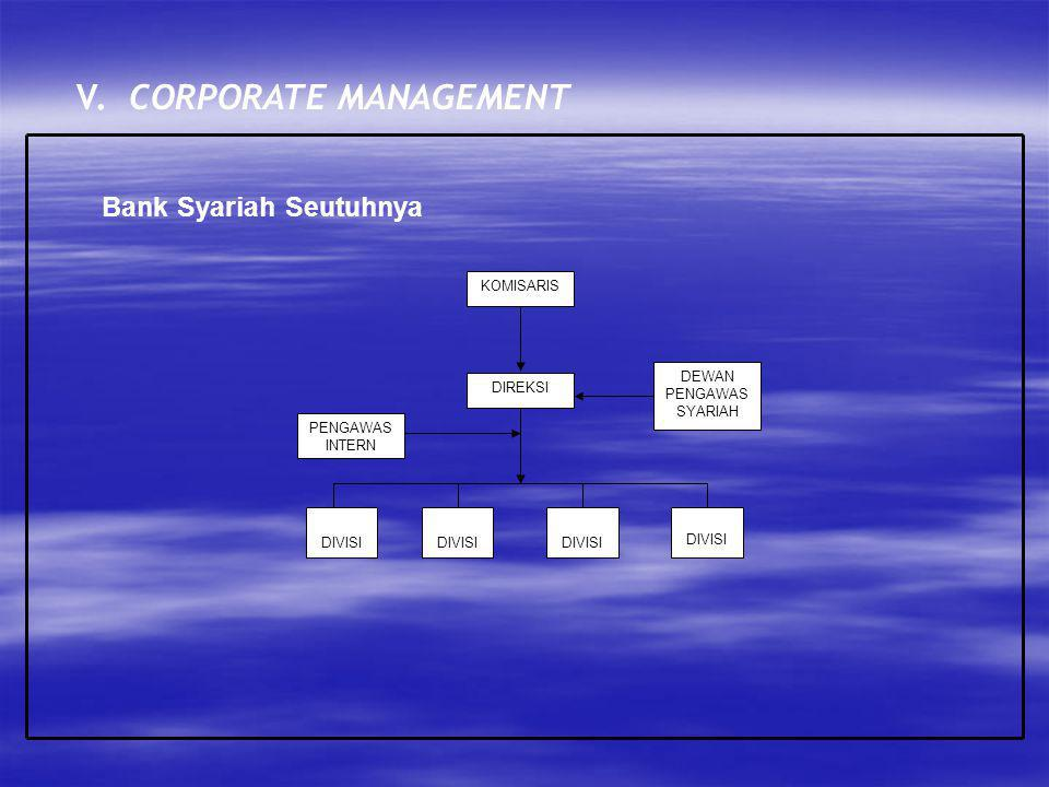 V. CORPORATE MANAGEMENT Bank Syariah Seutuhnya