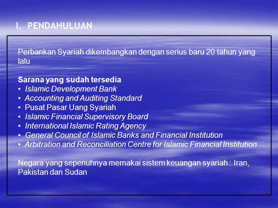 I. PENDAHULUAN Perbankan Syariah dikembangkan dengan serius baru 20 tahun yang lalu. Sarana yang sudah tersedia.