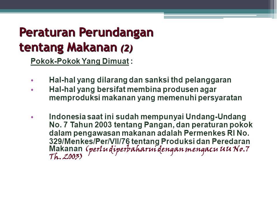 Peraturan Perundangan tentang Makanan (2)