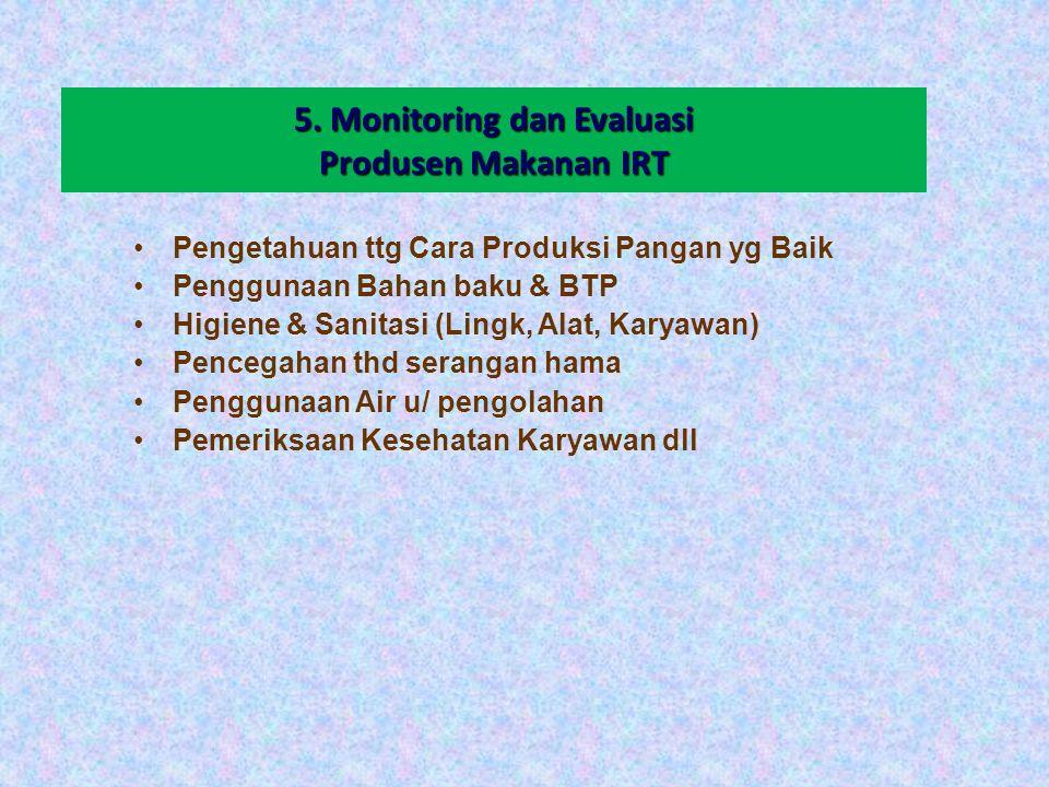 5. Monitoring dan Evaluasi Produsen Makanan IRT
