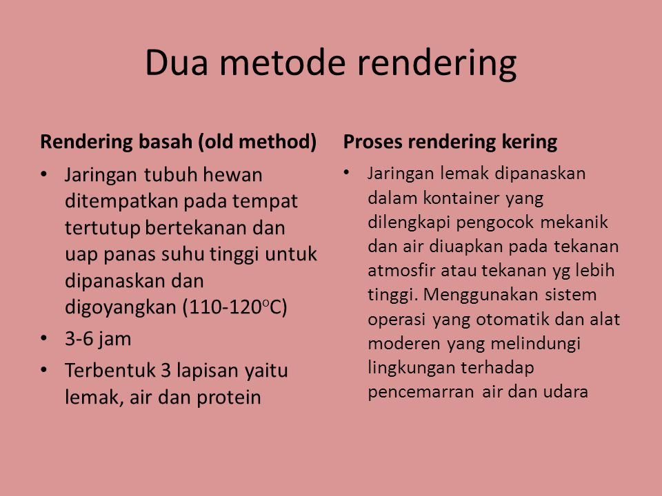 Dua metode rendering Rendering basah (old method)