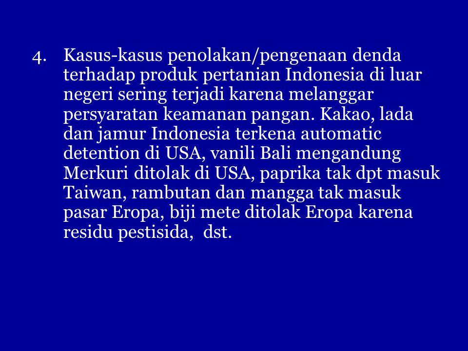 Kasus-kasus penolakan/pengenaan denda terhadap produk pertanian Indonesia di luar negeri sering terjadi karena melanggar persyaratan keamanan pangan.