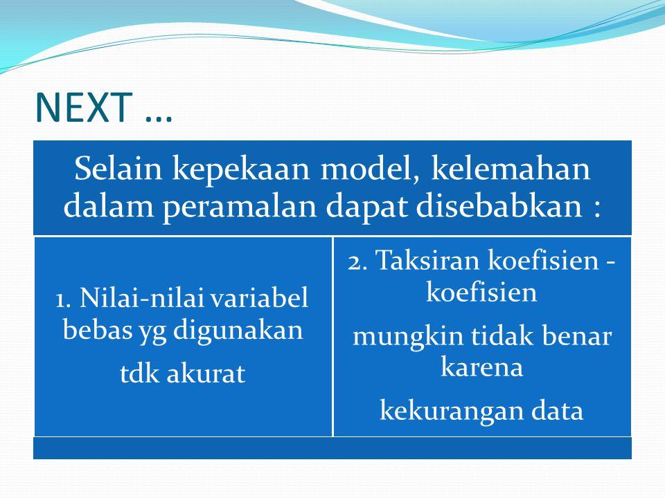 NEXT … Selain kepekaan model, kelemahan dalam peramalan dapat disebabkan : 1. Nilai-nilai variabel bebas yg digunakan.