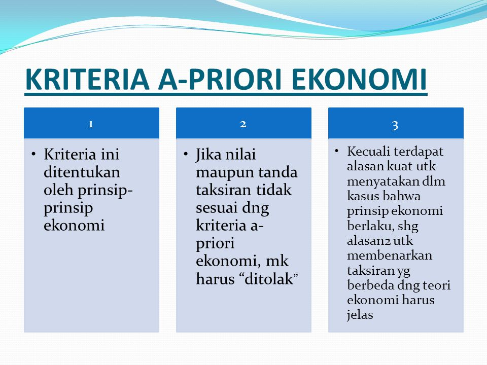 KRITERIA A-PRIORI EKONOMI