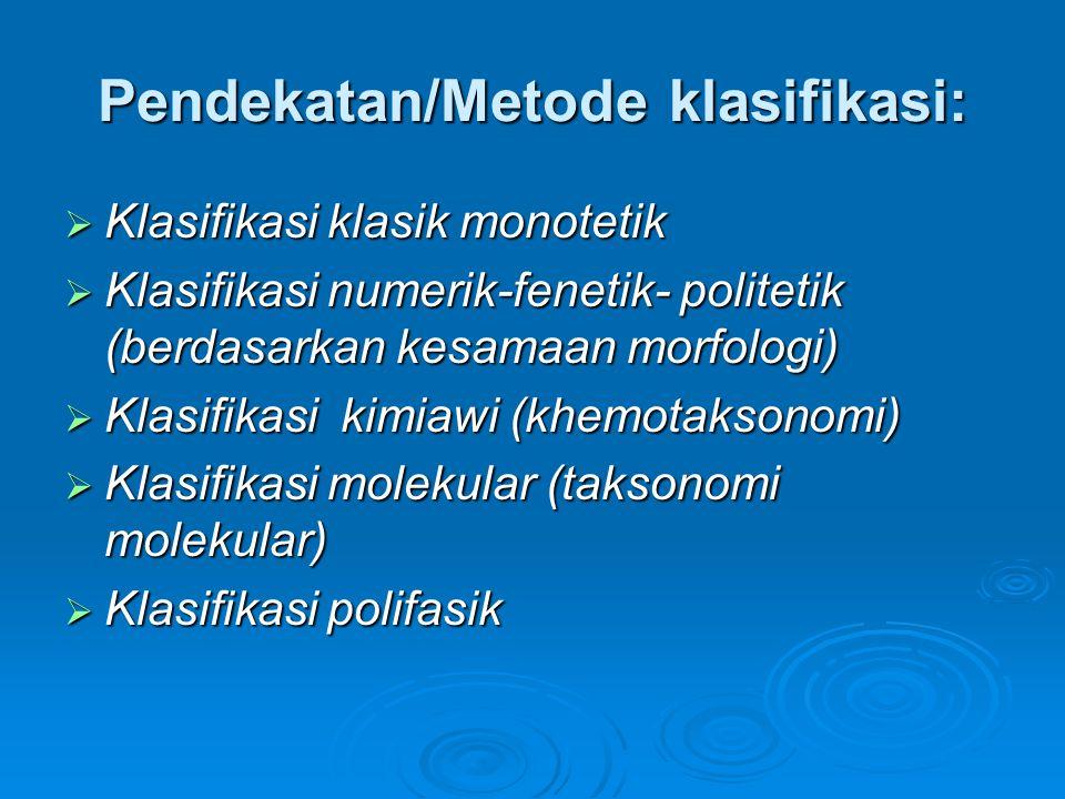 Pendekatan/Metode klasifikasi: