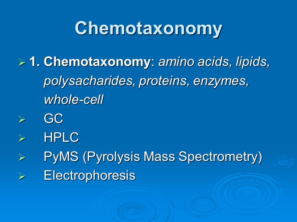 Chemotaxonomy 1. Chemotaxonomy: amino acids, lipids,