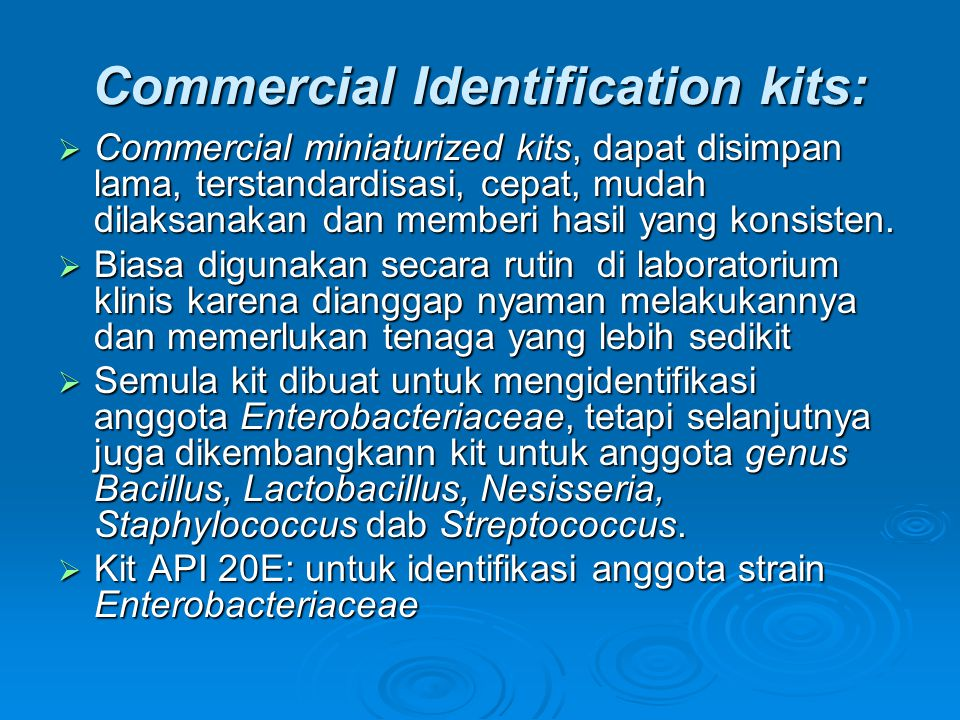 Commercial Identification kits: