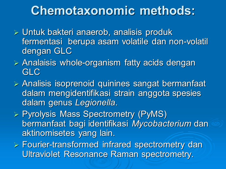 Chemotaxonomic methods: