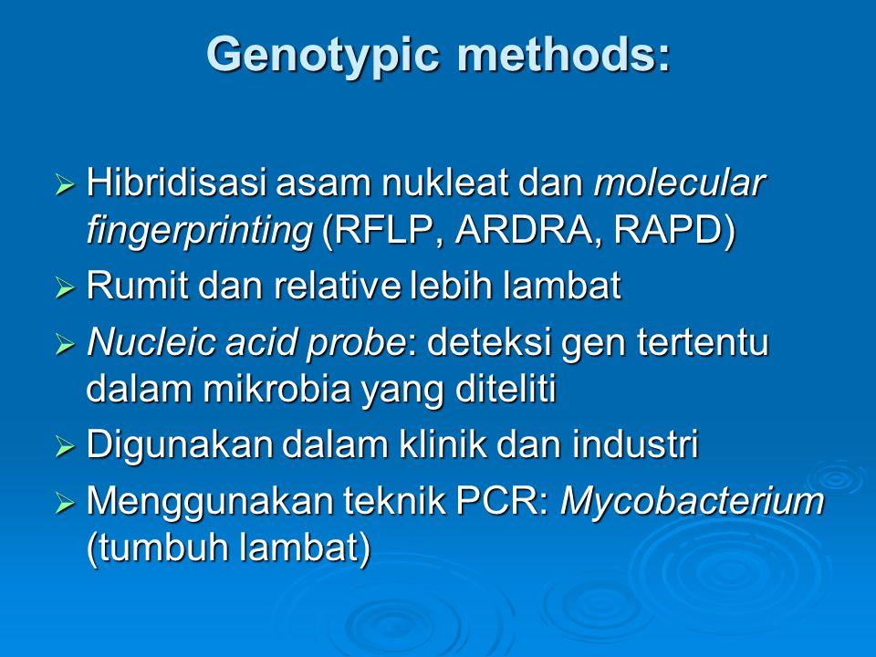 Genotypic methods: Hibridisasi asam nukleat dan molecular fingerprinting (RFLP, ARDRA, RAPD) Rumit dan relative lebih lambat.