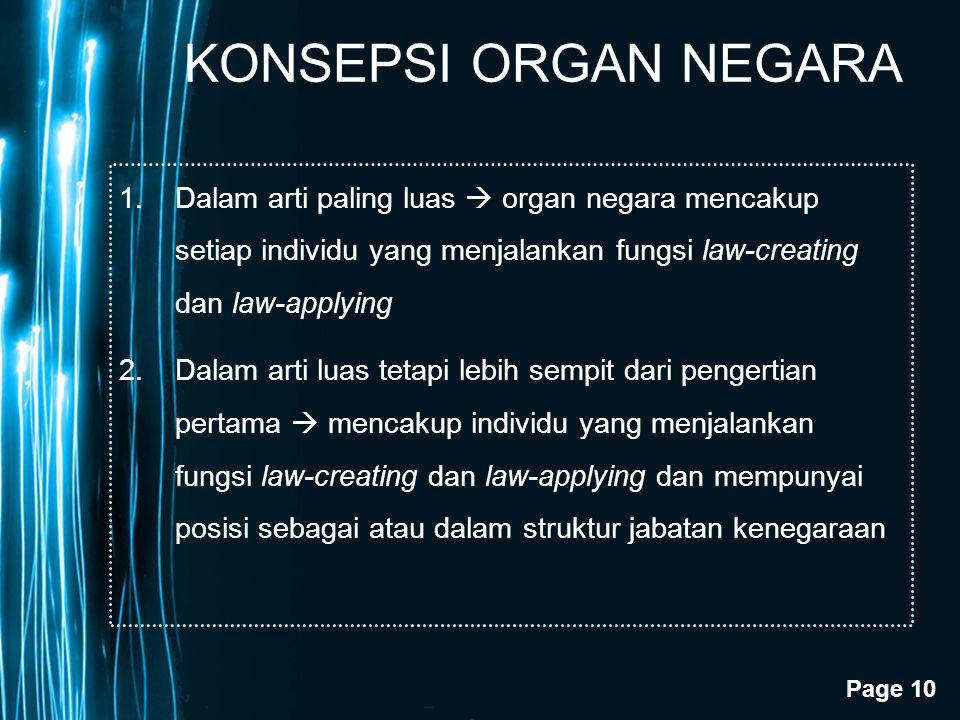 KONSEPSI ORGAN NEGARA Dalam arti paling luas  organ negara mencakup setiap individu yang menjalankan fungsi law-creating dan law-applying.