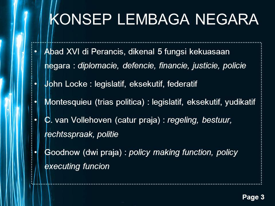 KONSEP LEMBAGA NEGARA Abad XVI di Perancis, dikenal 5 fungsi kekuasaan negara : diplomacie, defencie, financie, justicie, policie.
