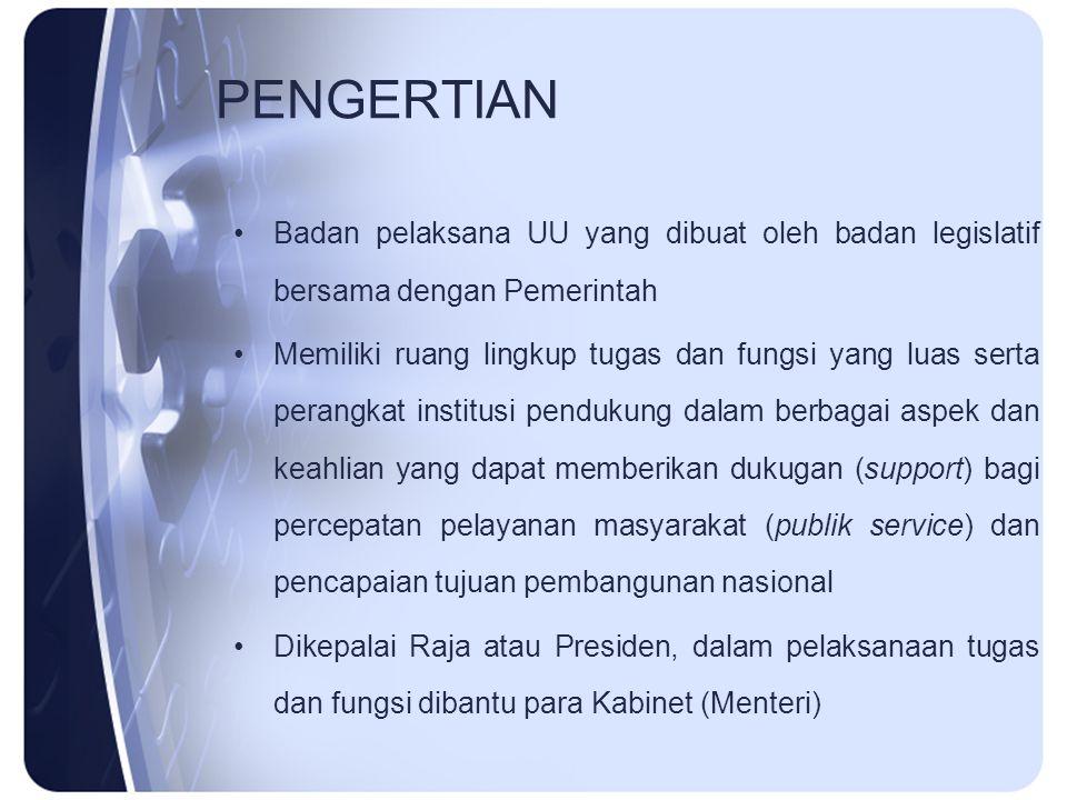 PENGERTIAN Badan pelaksana UU yang dibuat oleh badan legislatif bersama dengan Pemerintah.