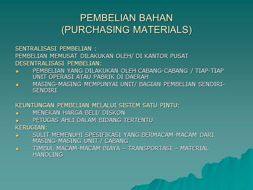 PEMBELIAN BAHAN (PURCHASING MATERIALS)