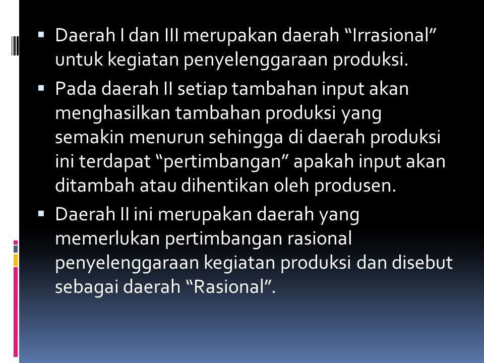 Daerah I dan III merupakan daerah Irrasional untuk kegiatan penyelenggaraan produksi.