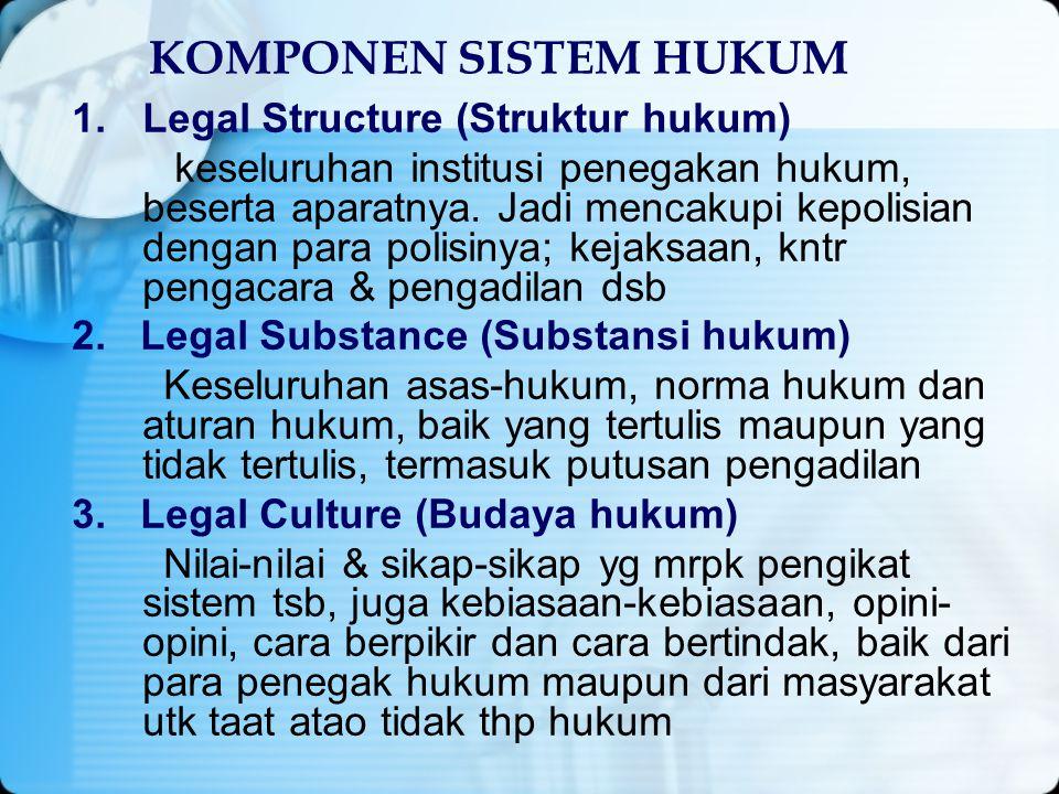 KOMPONEN SISTEM HUKUM Legal Structure (Struktur hukum)