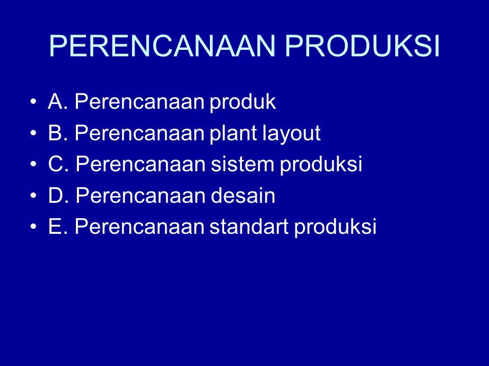 PERENCANAAN PRODUKSI A. Perencanaan produk B. Perencanaan plant layout